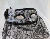 Silver and Black Brocade Paper Mache Masquerade Mask with Black Veil