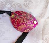 Fuchsia and Gold Brocade Eye Patch Pirate Costume Accessory