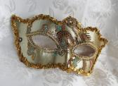 Pale Gold Champagne Brocade Masquerade Mask