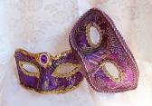 Couples Purple and Gold Brocade Masquerade Masks