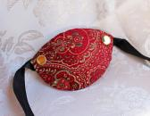 Red and Gold Paisley Brocade Pirate Eye Patch with Rivets