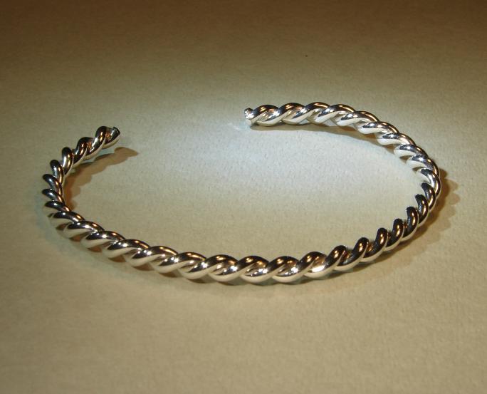 Twisted wire bracelet in sterling silver on Handmade Artists\' Shop