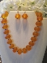Orange rondelle resin beaded necklace set