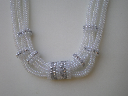 3 strand tubular herringbone necklace