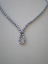gray glass pearl necklace  with rhinestone spacers