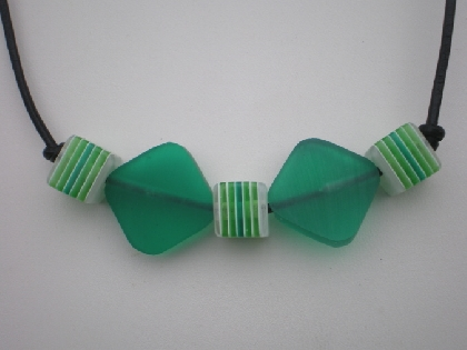 Green resin and leather necklace