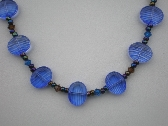 Lavender/Blue striated beaded necklace set