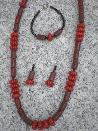 Red Czech glass necklace set