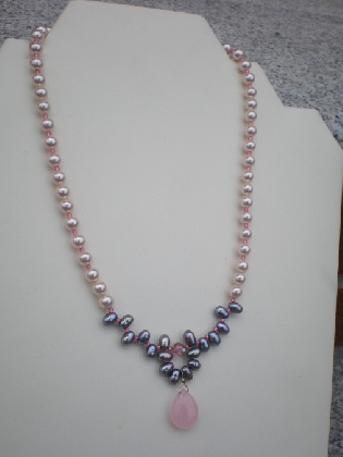 Pink crystal pearl necklace