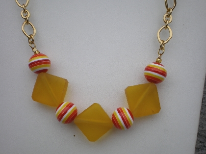 Fiesta Red and Cantaloupe Resin Necklace Set