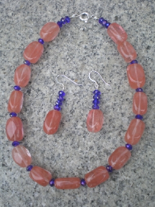 Strawberry quartz necklace set