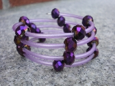Purple and lavender memory wire bracelet