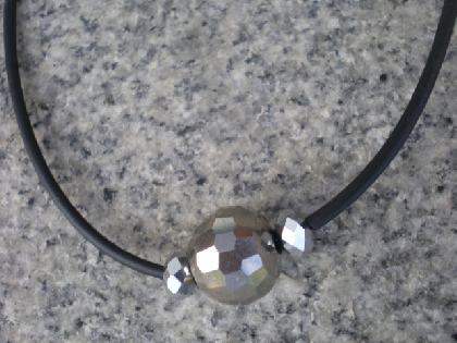 Silver Metallic and Black Rubber tubing necklace