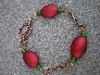 Red Acrylic Beads And Copper Chain Necklace Set