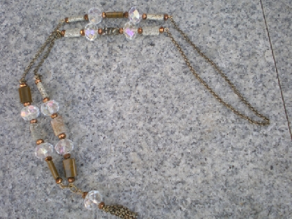 Brass Chain And Stone Necklace