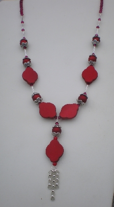 Acrylic And Crystal Necklace With Pendant
