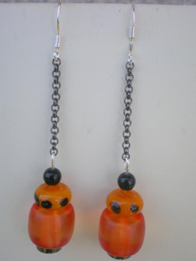 Black Chain Beaded Earrings