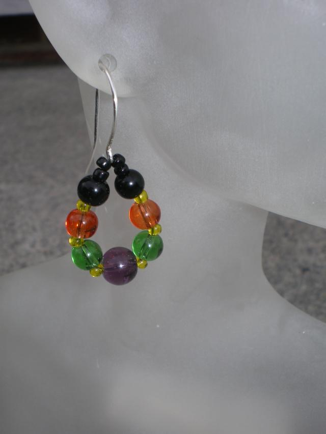 Halloween Beaded Hoop Earrings