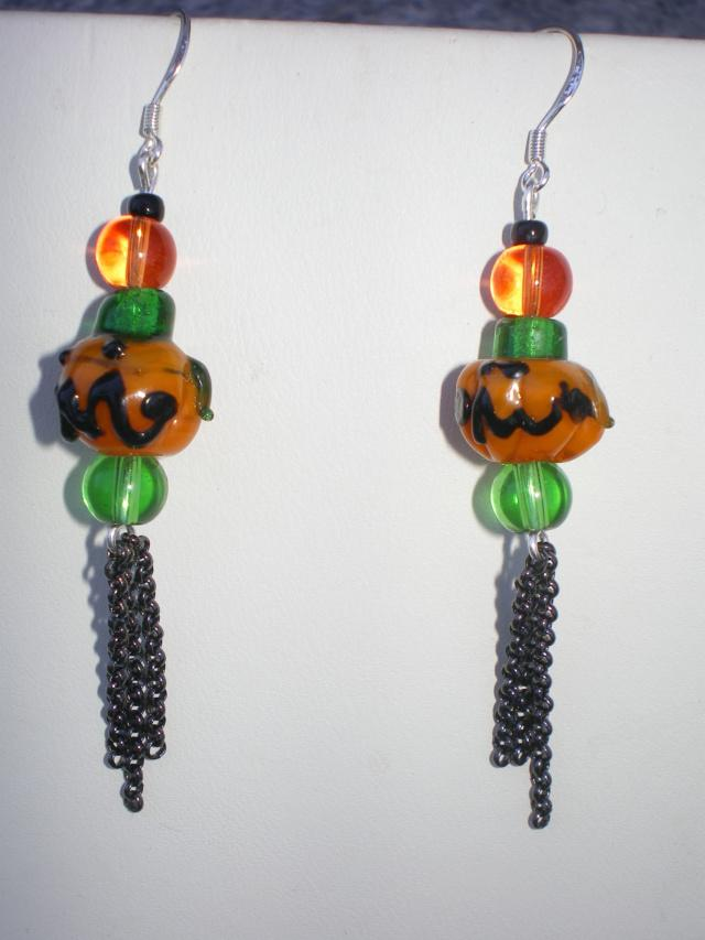 Pumpkin And Chain Dangle Earrings