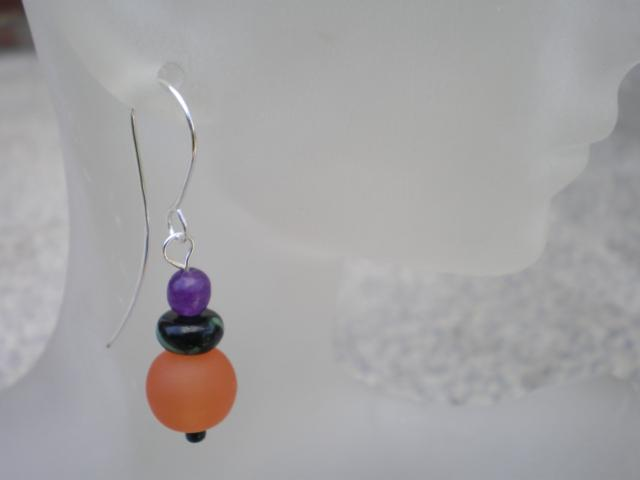 Resin And Adventurine Earrings