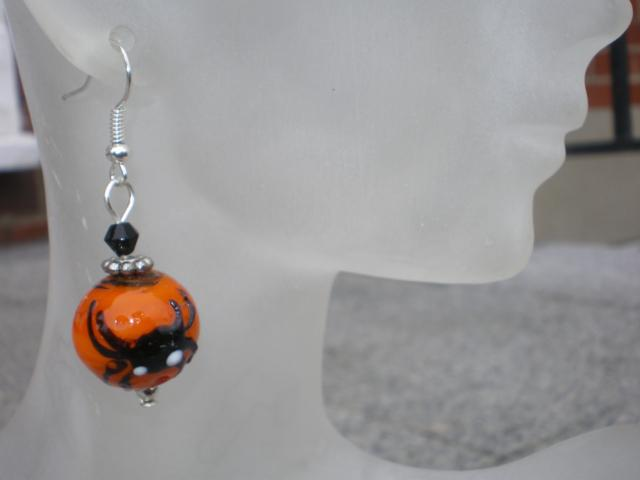 Spider Pumpkin Earrings