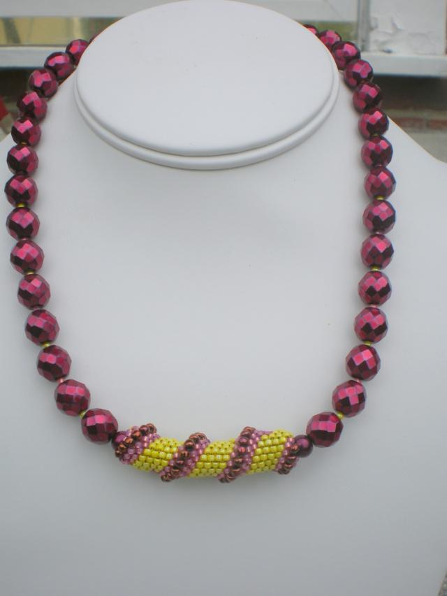 Spiral Weave Necklace Yellow Mauve Cooper