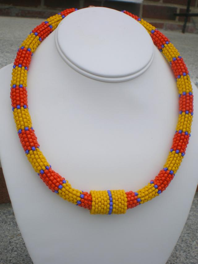 Orange And Yellow Beadwoven Necklace