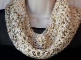 Cream Almond Tweed Crochet Cowl