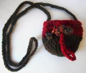 crocheted cranberry brown colorblock pouch necklace