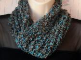 knit Turquoise blue tweed cowl fashion wear