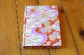 Oriental themed blank mini journal Handbound book with Japanese Washi Paper covers