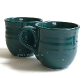 Large Blue Green Ceramic Mugs Set of 2