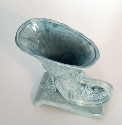 Light Blue Victorian Style Ceramic Vase