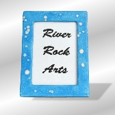 Turquoise and White 5 x 7 Ceramic Picture Frame