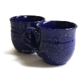 Large Speckled Cobalt Blue Ceramic Mugs Set of 2