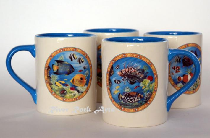 Neon Blue Tropical Fish Ceramic Mugs Set of 4