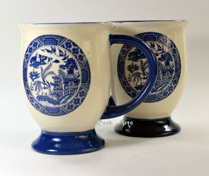 Footed Blue Willow Ceramic Mugs Set of 2