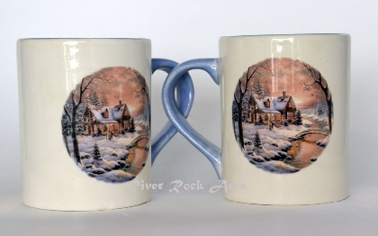 Lavender Blue Christmas Cabin Ceramic Mugs Set of 4