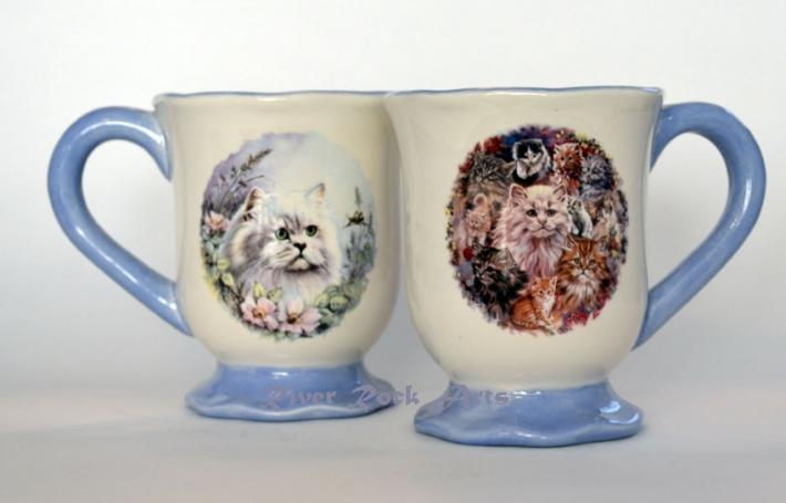 Footed Lavender Blue Kittens Ceramic Mugs Set of 2