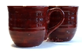 Large Dark Ruby Red Ceramic Mugs Set of 2
