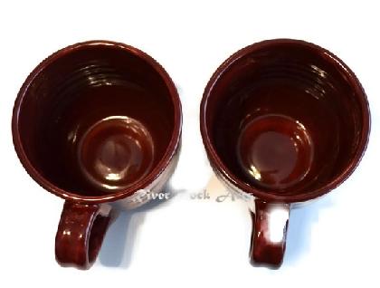 Large Dark Ruby Red Ceramic Mugs Set of 2
