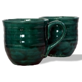 Large Dark Emerald Green Ceramic Mugs Set of 2