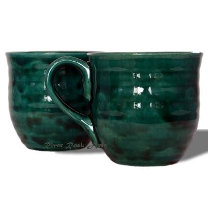 Large Dark Emerald Green Ceramic Mugs Set of 2