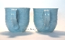 Large Light Ocean Blue Ceramic Mugs Set of 2
