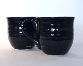 Large Navy Blue Ceramic Mugs Set of 2