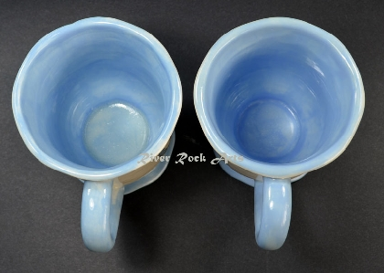 Footed Light Blue Oriental Rose Ceramic Mugs Set of 2