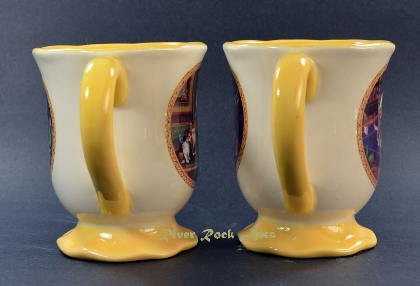 Footed Gold Playful Kittens Ceramic Mugs Set of 2