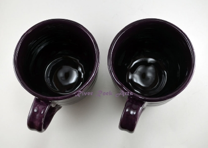 Large Dark Amethyst Purple Ceramic Mugs Set of 2