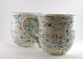 Large White Confetti Ceramic Mugs Set of 2