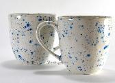 Large Blue and White Splash Ceramic Mugs Set of 2